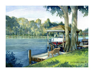 Painting - Trent River Boathouse by Dick Dee
