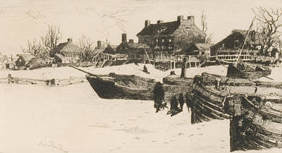 Wintry Drawing - Trenton Winter by Stephen Parrish