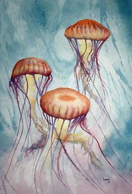 Purple Sea Stars Wall Art - Painting - Tres Jellyfish by Jeff Lucas