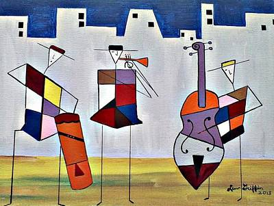 Tres Musicians Art Print by Lew Griffin
