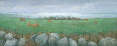 Wildlife Landscape Painting - Tresco Cows by Steve Mitchell