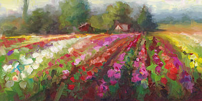 Impressionistic Landscape Painting - Trespassing Dahlia Field Landscape by Talya Johnson