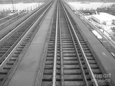 Rickety Bridge Photograph - Trestle Train Tracks Black And White by Joseph Baril