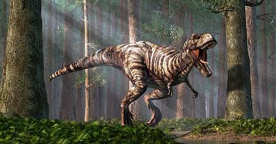 Prehistoric Digital Art - Trex In The Forest by Daniel Eskridge