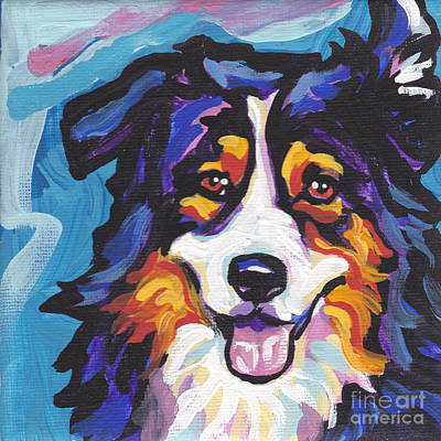 Puppies Painting - Tri Aussie by Lea S