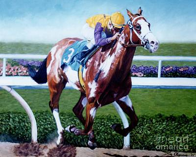 Pinto Painting - Tri Chrome Gary Stevens Up by Tom Chapman