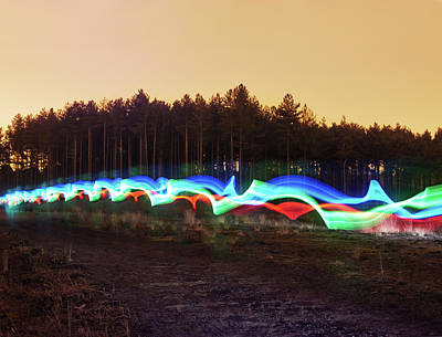 Modern Photograph - Tri-colour Light Trail In Heath by Tim Robberts