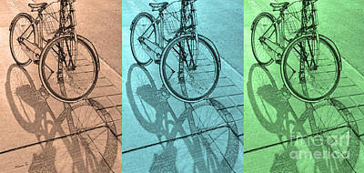 Photograph - Tri-coloured Bicycle Print by Nina Silver
