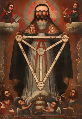 Christian Artwork Painting - Tri Facial Trinity by Mountain Dreams