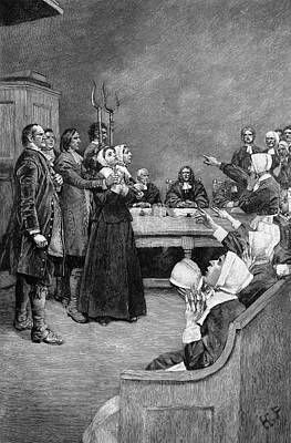 Discrimination Drawing - Trial Of Two Witches by Granger