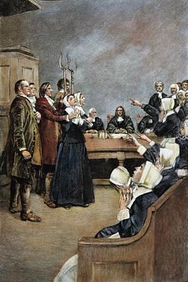 Discrimination Drawing - Trial Of Two Witches,salem by Granger