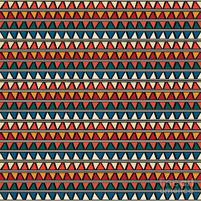 Tribal Wall Art - Digital Art - Triangle Seamless Tile Pattern by Richard Laschon