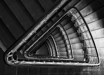 Triangle Staircaise In Bw Print by Jaroslaw Blaminsky
