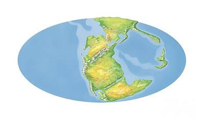 Triassic Photograph - Triassic World Map, Artwork by Gary Hincks