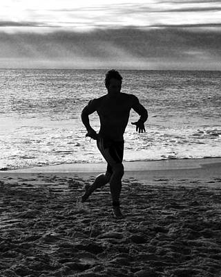 Photograph - Triathalon Runner - Black And White by Kim Bemis