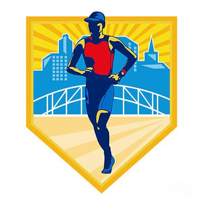 Triathlon Digital Art - Triathlete Marathon Runner Retro by Aloysius Patrimonio