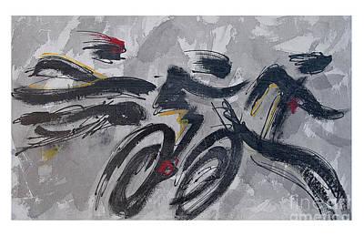 Ironman Painting - Triathlon On Shadow Sequence by Alejandro Maldonado