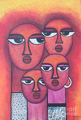 Painting - Tribal Art Family by Rekha Artz
