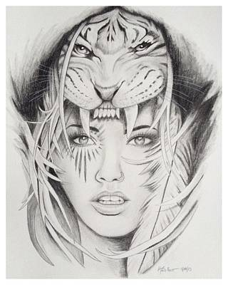 Beauty And The Beast Drawing - Tribal Beauty by Kimberly Besaw