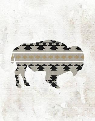 Tribal Buffalo Silhouette Art Print by Tara Moss