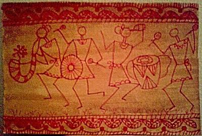 Indian Tribal Art Painting - Tribal Celebration Original Acrylic On Paper Warli Painting by Mrudul Kolhatkar