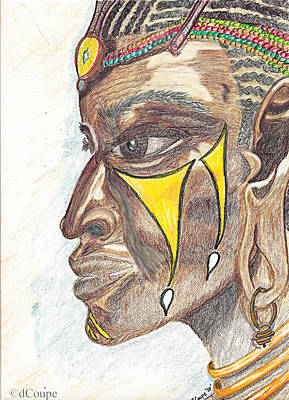 Beadwork Drawing - Tribal Dancer by Donna Coupe