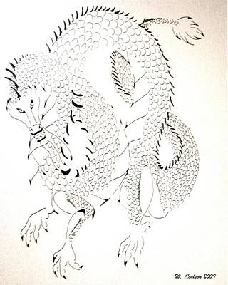 Art Print featuring the drawing Tribal Dragon by Wendy Coulson