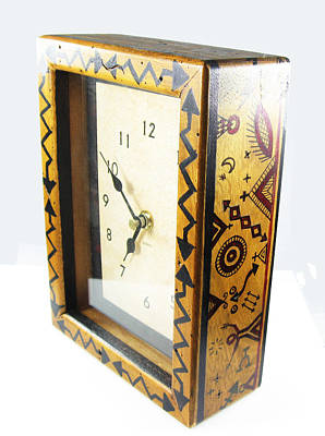 Esprit Mystique Mixed Media - Tribal Ethnic Design Table Or Wall Clock by Vagabond Folk Art - Virginia Vivier