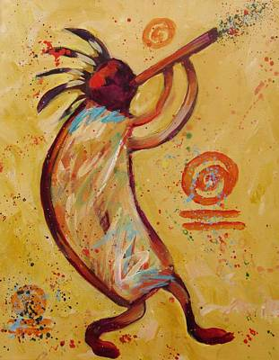 Tribal Ethnic My Red Kokopelli Art Print