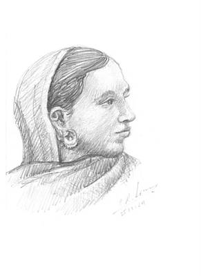 Drawing - Tribal Girl by Prakash Leuva