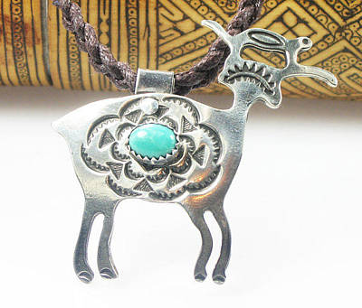 Jewelry - Tribal Goat Spirit With Turquoise Cabochon - Sterling Silver by Vagabond Folk Art - Virginia Vivier