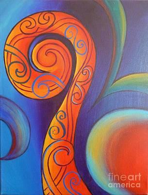 Painting - Tribal Koru Red by Reina Cottier