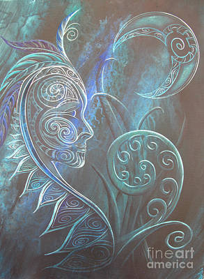 Silver Moonlight Painting - Tribal Moon Goddess Rua by Reina Cottier