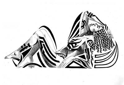 Tribal Recline Print by Terri Meredith