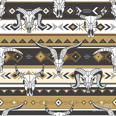 University Digital Art - Tribal Seamless Pattern With Skulls Of by Talirina