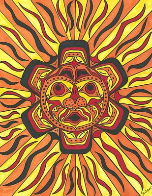 Art Print featuring the painting Tribal Sunface Mask by Susie Weber