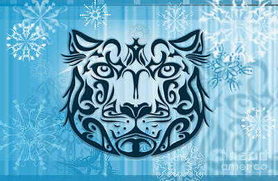 Flakes Digital Art - Tribal Tattoo Design Illustration Poster Of Snow Leopard by Sassan Filsoof