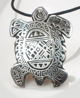 Jewelry - Tribal Tortuga Talisman - Fine Silver by Vagabond Folk Art - Virginia Vivier