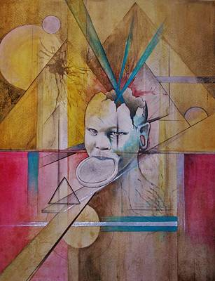 Charcoal Mixed Media - Tribal Travels by Adam Young