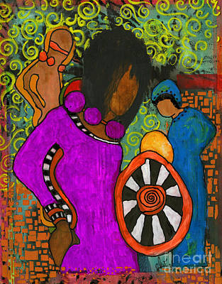 Mixed Media - Tribal Trio by Angela L Walker