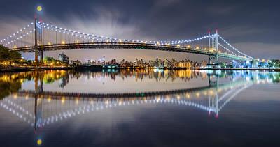 Photograph - Triboro Bridge Panorama At Night by Mihai Andritoiu