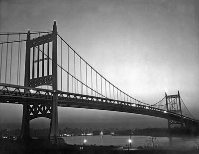 Photograph - Triborough Bridge At Night by Underwood Archives