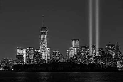Tribute In Light Photograph - Tribute In Light 2013 Bw by Susan Candelario