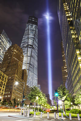 Photograph - Tribute In Light And Freedom Tower by Alex Llobet