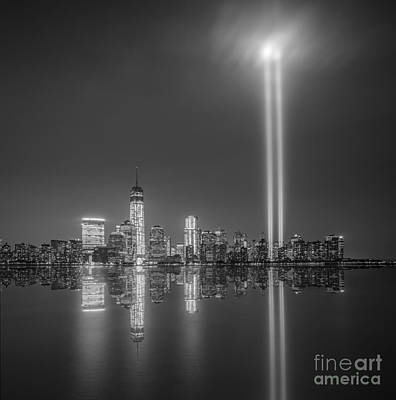 911 Memorial Photograph - Tribute In Light Reflection by Michael Ver Sprill