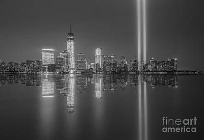 911 Memorial Photograph - Tribute In Light Reflections Bw by Michael Ver Sprill