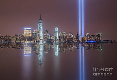 911 Memorial Photograph - Tribute In Light Reflections by Michael Ver Sprill