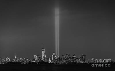911 Memorial Photograph - Tribute Lights Bw by Michael Ver Sprill