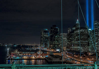 Pier 17 Digital Art - Tribute Lights From The Brooklyn Bridge by Keith Yates