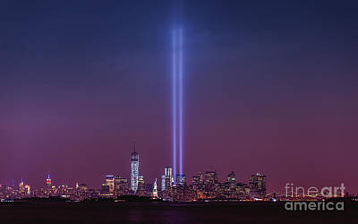 911 Memorial Photograph - Tribute Lights by Michael Ver Sprill